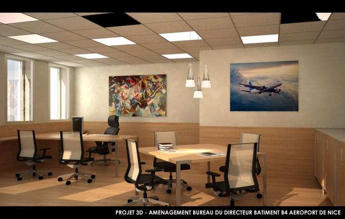 Batiment B4 - Aéroport de Nice : hierro project architecte dplg nice 3d rehabilitation batiment 4 aeroport de nice Bureau directeur