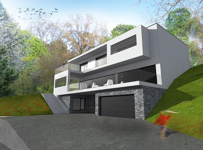 Photo maison contemporaine sur terrain en pente segu maison for Maison moderne terrain en pente