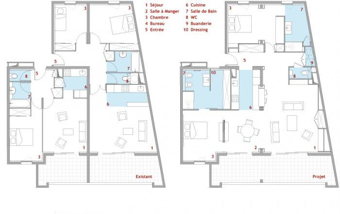 Association de deux appartement en un seul. Rénovation complète : Grumelin